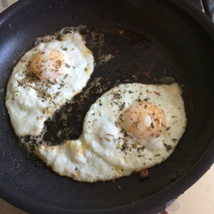 Eggs underneath the veggies