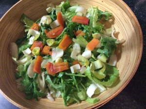 salad with persimmons, endive and greens