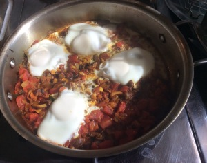 Shakshuka--final with poached eggs on top of veggies/tomatoes