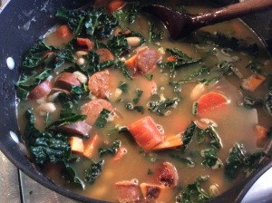 Delicious Kale Tuscan Soup with veggies and sausage