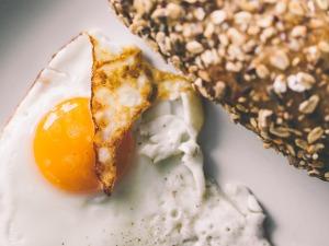 Crispy fried egg with whole grain bread
