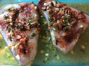 Two Swordfish Steaks in marinade