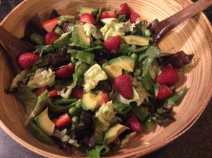 Summer Salad with fresh new Peas and strawberries