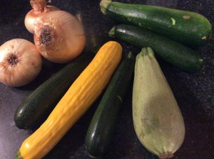 A variety of squashes and onion