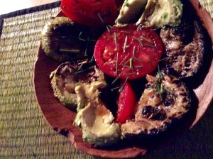 Grilled Eggplant, Tomato and Avocado salad on plate