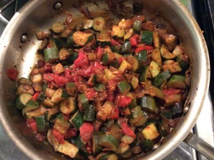 Tomatoes, Zucchini, Onions in a pan