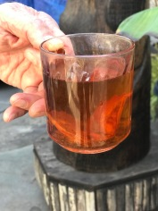 Cup of tea with dried persimmons in it