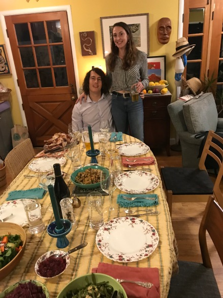 Dining table with my son and his girlfriend at the end