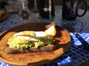 Avocado Toast topped with Fried Egg